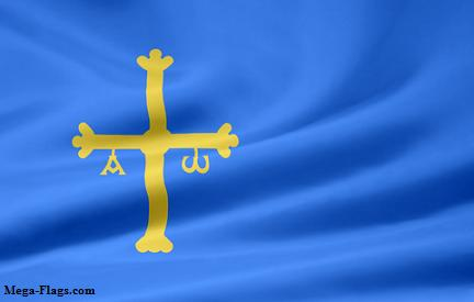Flag of Asturias Providence in Spain